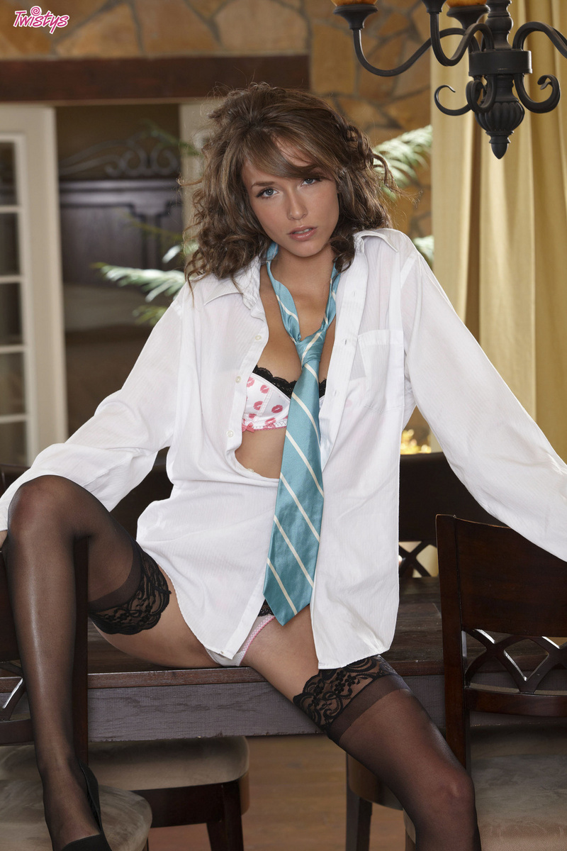 Malena Morgan Strips and Spreads in Stockings
