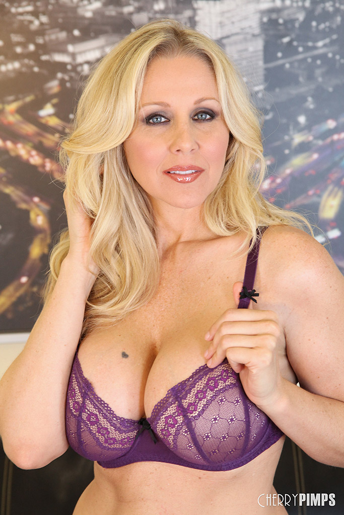 Julia Ann Sheds Purple Lingerie for Purple Sex Toy