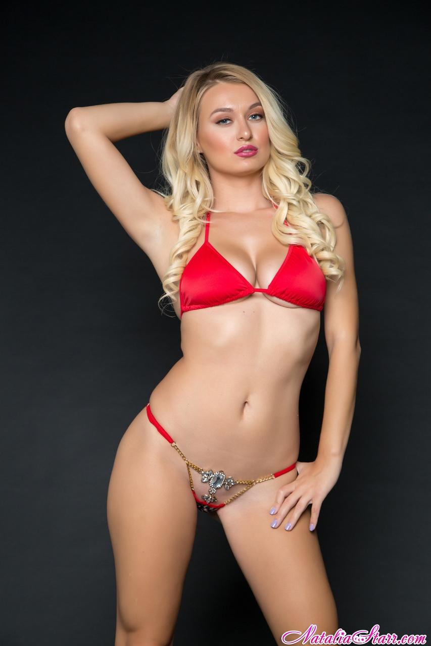 Natalia Starr Bejeweled Panties and Red Bra