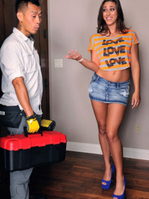 Rilynn Rae Hot Brunette Cleans Plumber's Pipes with Blowjob