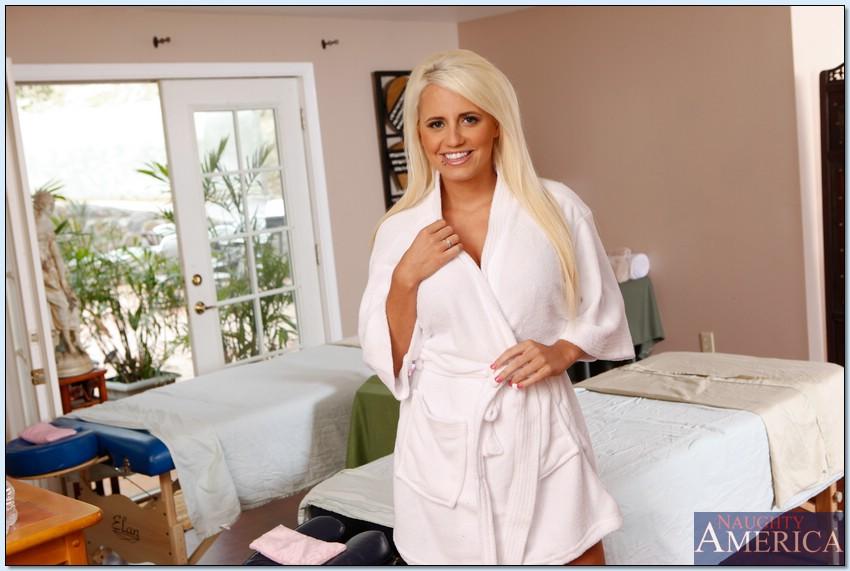 Jacky Joy Busty Blonde Gives Masseuse Hardcore Relief